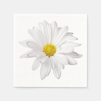 White Daisy Flower Illustration Floral Daisies Paper Napkin