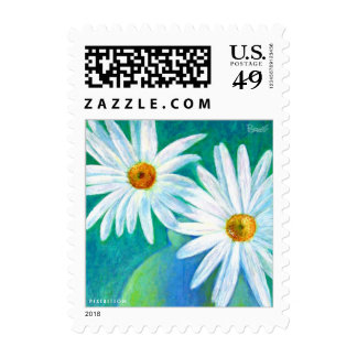 White Daisy Flower Painting Postage Small