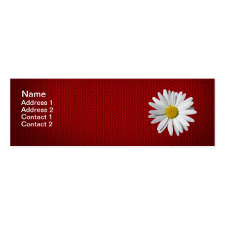 White Daisy Flower Red Skinny Business Card
