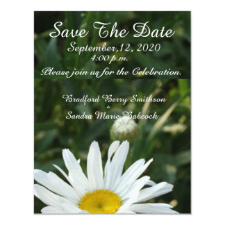 "White Daisy flower Save the Date invite 4.25"" X 5.5"" Invitation Card"