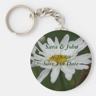 White Daisy Flower Save The Date Wedding Keychain