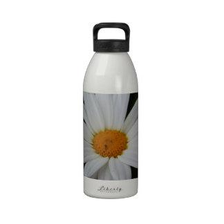 White Daisy Flower Water Bottle
