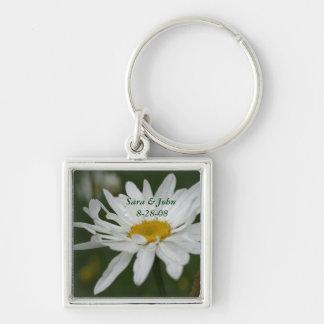 White Daisy Flower Wedding Date Keychain