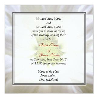 white daisy flower weddings card