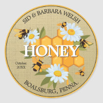 White Daisy Flowers and Honey Bees Classic Round Sticker