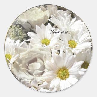 White Daisy Flowers Custom Envelope Seals Classic Round Sticker
