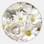 White Daisy Flowers Custom Envelope Seals Sticker