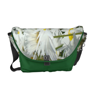 White Daisy Flowers Messenger Bags Daisies