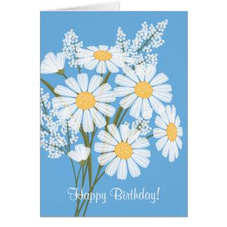 White Daisy Flowers On Blue Hy Birthday Card