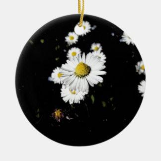 White daisy flowers on dark background ceramic ornament
