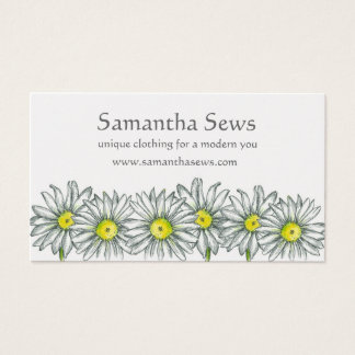 White Daisy Flowers Pen and Ink Drawing Business Card