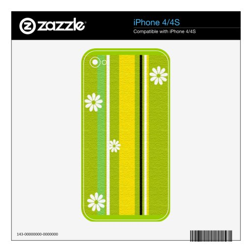 WHITE DAISY FLOWERS STRIPES GREEN YELLOW BLACK PRE DECALS FOR iPhone 4