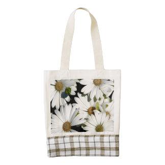 White Daisy Flowers Zazzle HEART Tote Bag