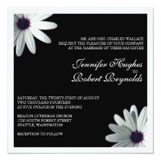White Daisy Formal Wedding Invitation