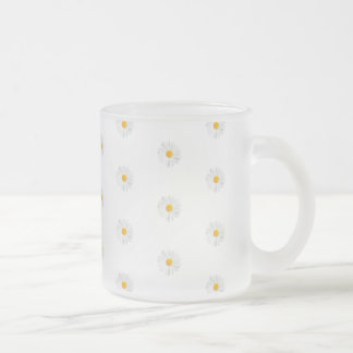 white daisy frosted glass coffee mug