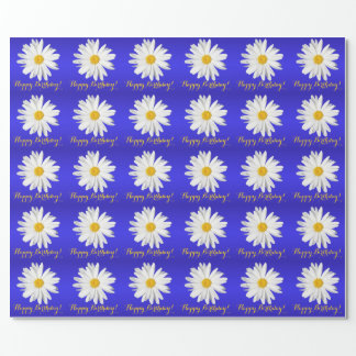 White Daisy Happy Birthday! Wrapping Paper