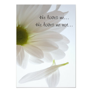 White Daisy He Loves Me Engagement Party Card