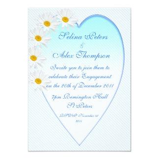 White Daisy Heart Engagement Invitation