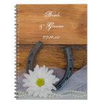 White Daisy Horseshoe Country Wedding Notebook