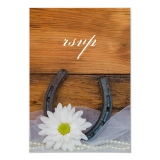 White Daisy Horseshoe Country Wedding RSVP Card Personalized Announcement