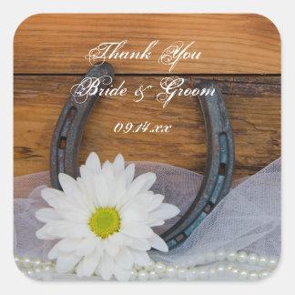 White Daisy Horseshoe Country Wedding Thank You Square Sticker
