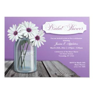 White Daisy Mason Jar Bridal Shower Invitations