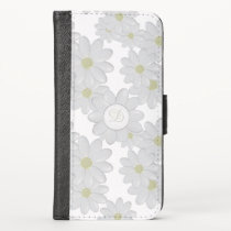 White Daisy Monogram iPhone X Wallet Case