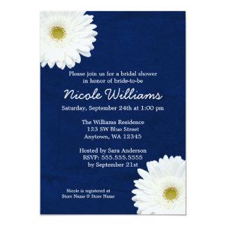 White Daisy Navy Blue Bridal Shower 5x7 Paper Invitation Card