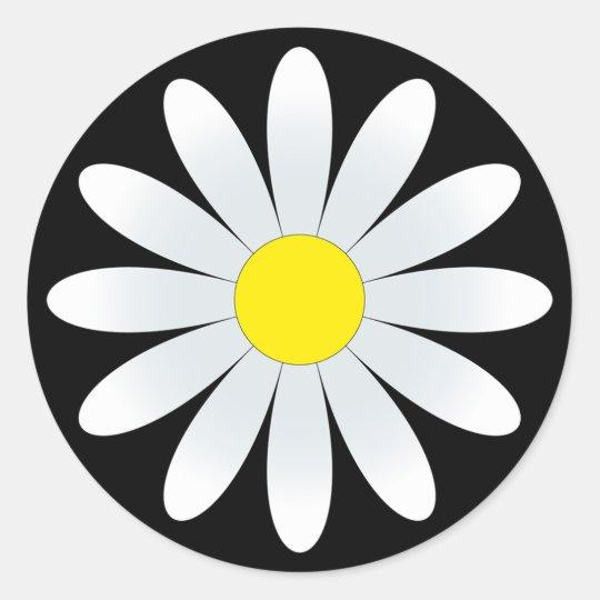 White Daisy On Black Classic Round Sticker