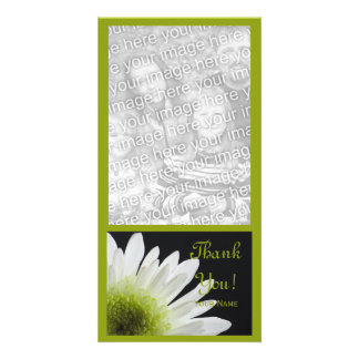 White Daisy on Black Thank You Card