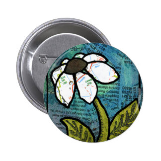 White Daisy on Blue Background - Collage Pinback Button