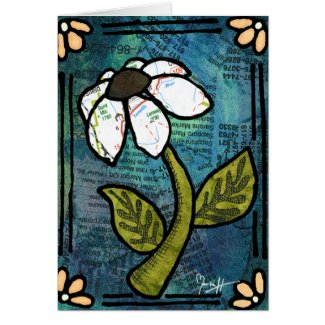 White Daisy on Blue Background - Collage Greeting Cards