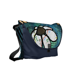 White Daisy on Blue Background - Collage Courier Bag