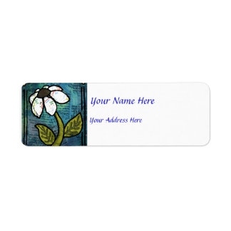 White Daisy on Blue Background - Collage Label