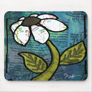 White Daisy on Blue Background - Collage Mouse Pads