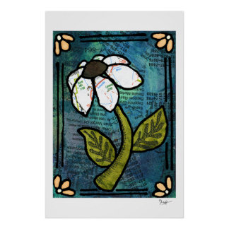 White Daisy on Blue Background - Collage Print