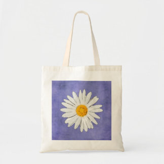 White Daisy on Blue grocery bag