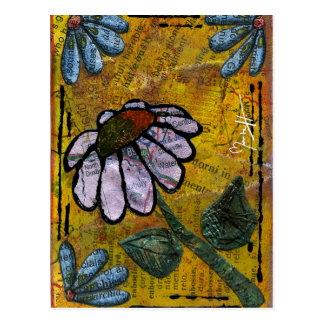 White Daisy on Yellow Background - Collage Postcard