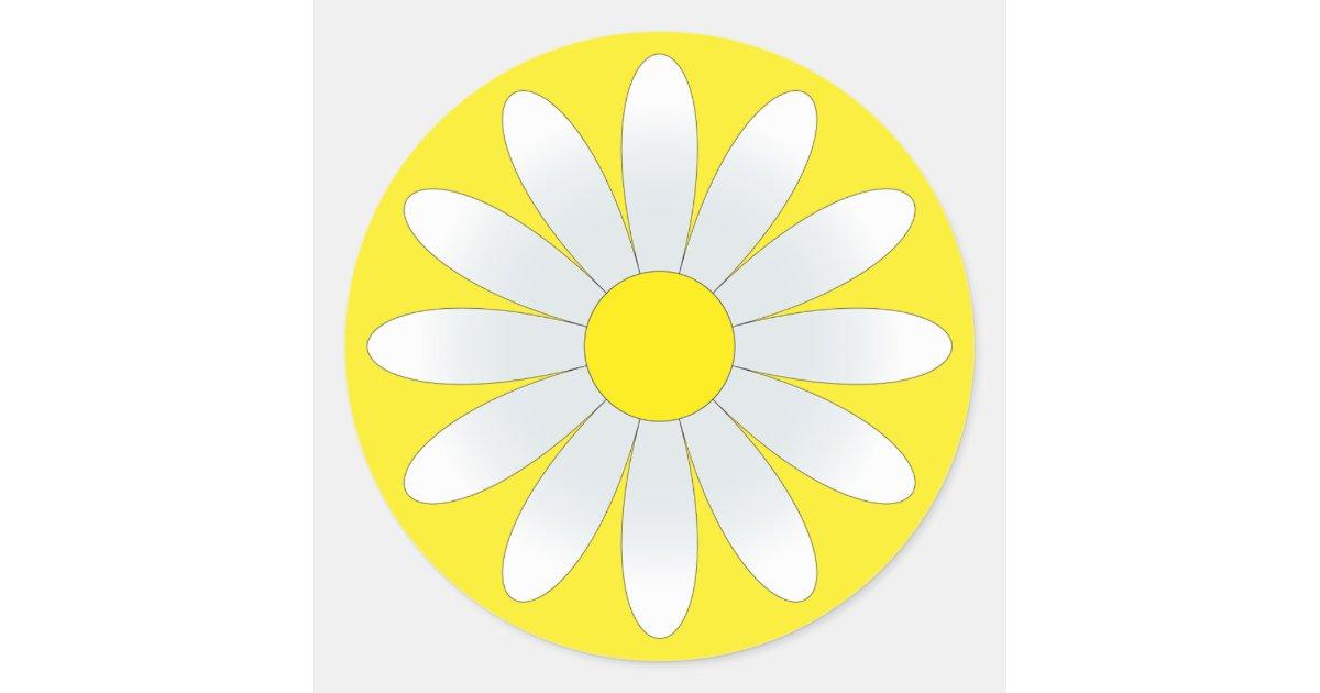 White Daisy On Yellow Classic Round Sticker