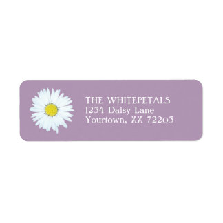 White Daisy & Pale Purple Return Address Label
