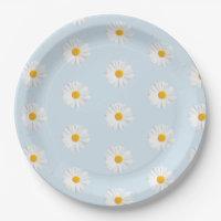 White Daisies Plates | Zazzle