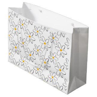 White Daisy Pattern Large Gift Bag