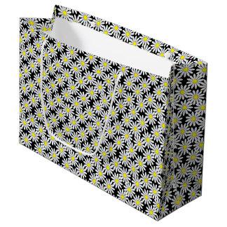White Daisy Pattern on Black Large Gift Bag