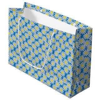 White Daisy Pattern on Blue Large Gift Bag
