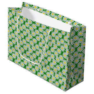 White Daisy Pattern on Green Large Gift Bag