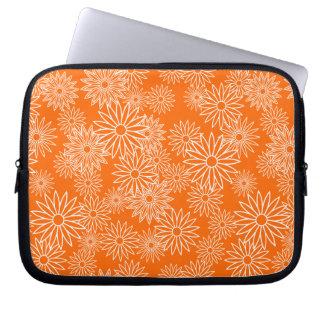 White Daisy Pattern on Orange Background Laptop Sleeve