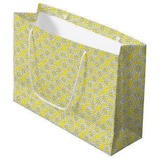White Daisy Pattern on Yellow Large Gift Bag