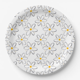 White Daisy Pattern Paper Plate