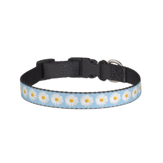 white daisy pattern pet collar