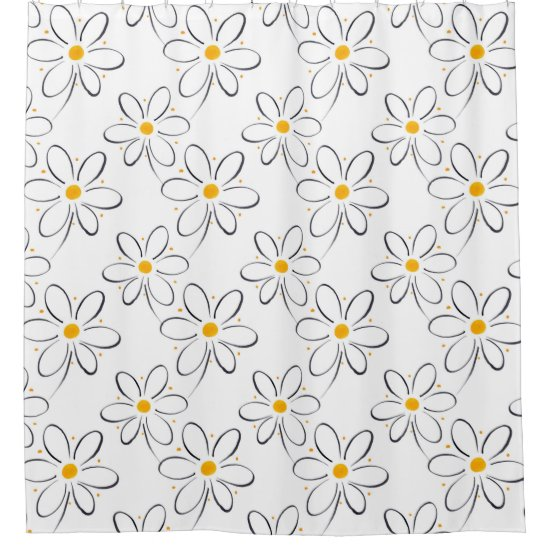 White Daisy Pattern Shower Curtain
